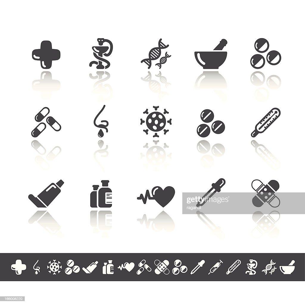 Pharmacy Icons | Simple Grey : stock illustration