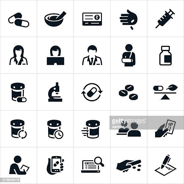 pharmacy icons - mortar and pestle stock illustrations, clip art, cartoons, & icons