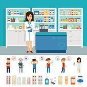 Pharmacy infographic elements and flat banner design