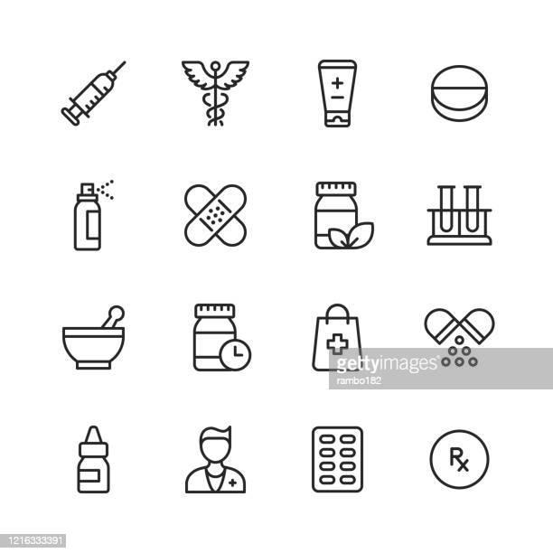 illustrazioni stock, clip art, cartoni animati e icone di tendenza di icone della linea di farmacia. tratto modificabile. pixel perfetto. per dispositivi mobili e web. contiene icone come farmacia, pillola, capsula, vaccinazione, farmacia, antidolorifico, prescrizione, siringa, medico, ospedale - farmacia