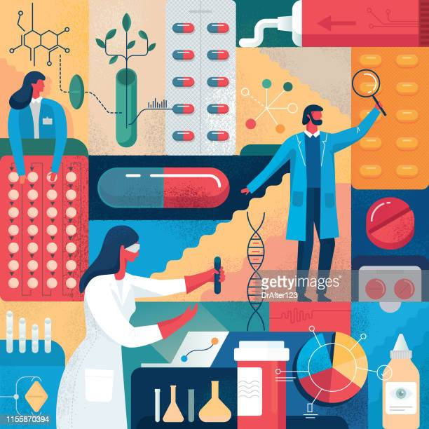pharmacy medications research - three people stock illustrations
