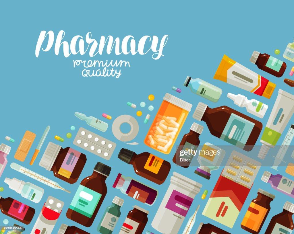 Pharmacy, pharmacology banner. Medicine, bottles and pills concept. Vector illustration