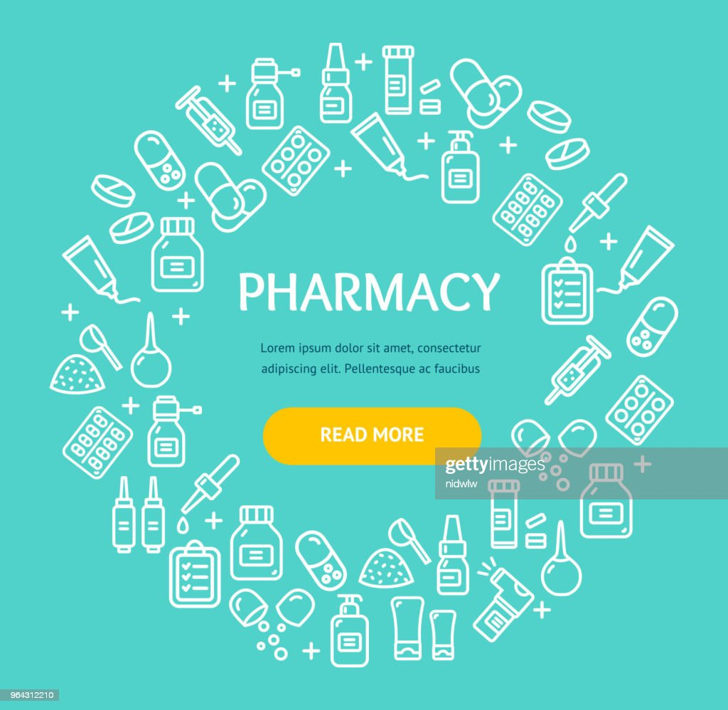 Pharmacy Signs Round Design Template Thin Line Icon Concept. Vector