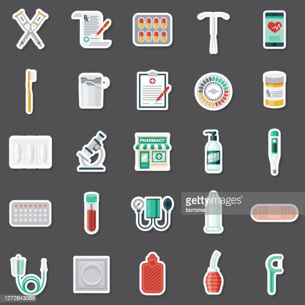 illustrazioni stock, clip art, cartoni animati e icone di tendenza di pharmacy sticker set - supposta