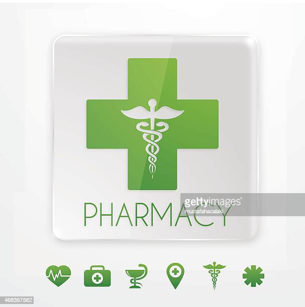 Pharmacy symbol on glass signboard