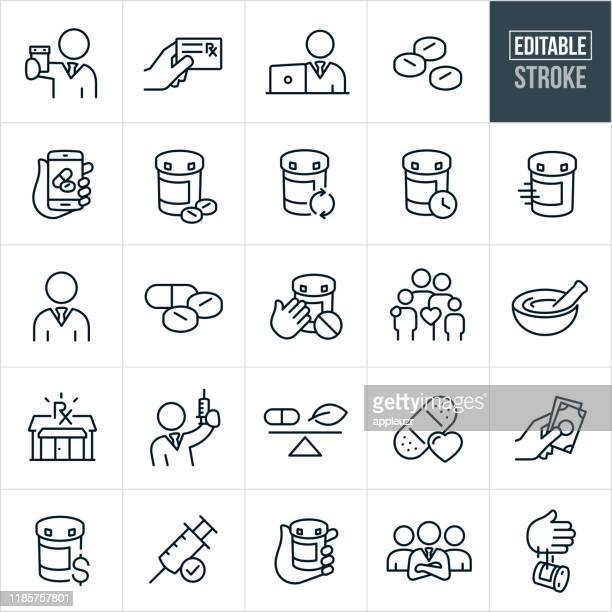 pharmacy thin line icons - editable stroke - finance and economy stock illustrations