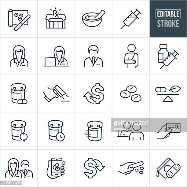 illustrazioni stock, clip art, cartoni animati e icone di tendenza di icone della linea sottile della farmacia - tratto modificabile - farmacia