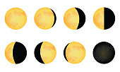 Phase of Moon illustration simple vector graphic