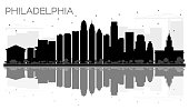 Philadelphia City skyline black and white silhouette with reflections.