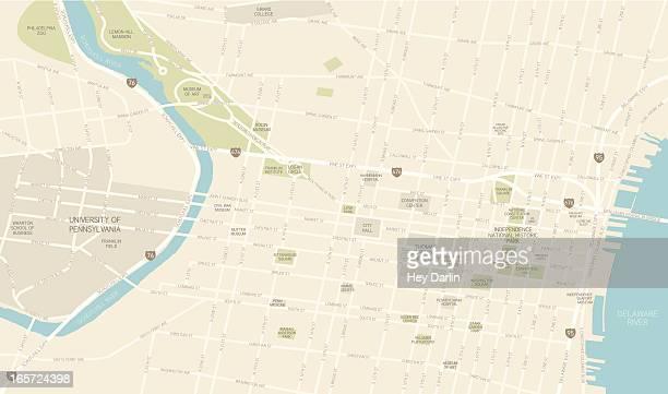 karte der innenstadt von philadelphia - stadtplan stock-grafiken, -clipart, -cartoons und -symbole