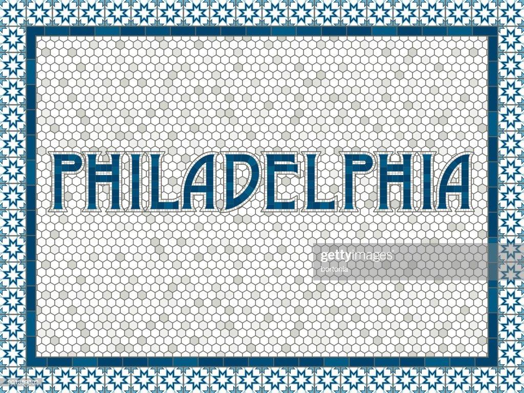 Philadelphia Alte Altmodische Mosaik Fliesen Typografie Vektorgrafik - Alte mosaik fliesen