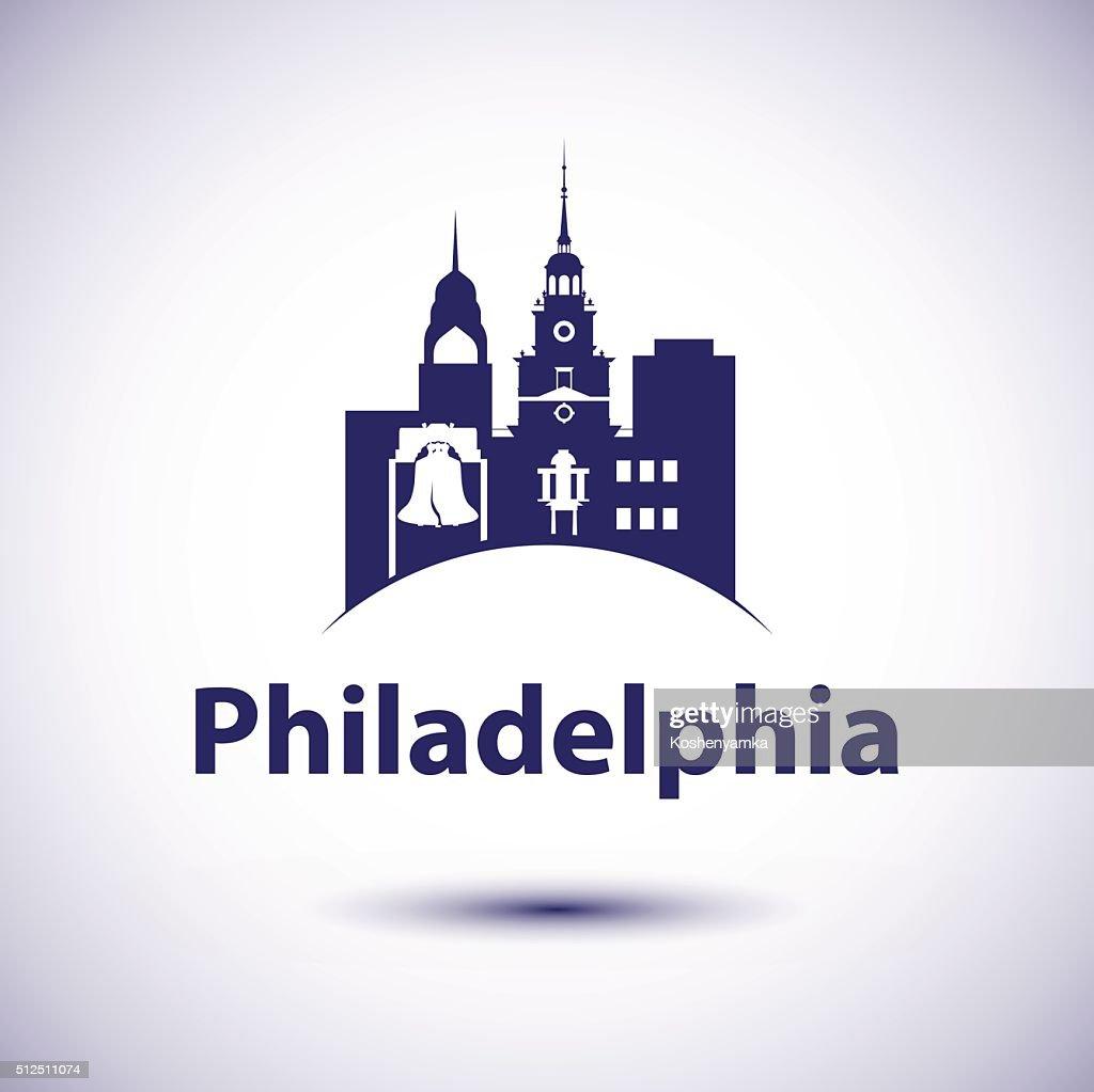 Philadelphia Pennsylvania city skyline silhouette.