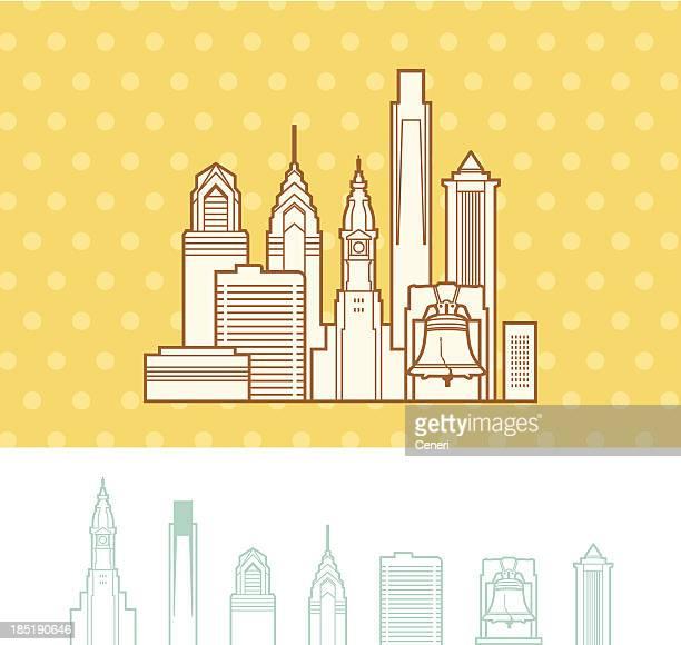 philadelphia, pennsylvania cityscape skyline - liberty bell stock illustrations