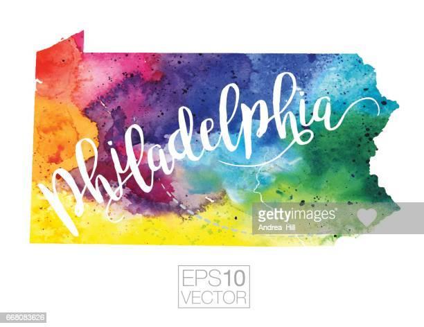 Philadelphia, Pennsylvania, USA Vector Watercolor Map