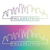 Philadelphia skyline. Colorful linear style.