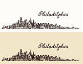 Philadelphia skyline hand drawn sketch Vector