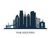 Philadelphia skyline, monochrome color. Vector illustration.