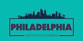 Philadelphia skyline silhouette poster vector