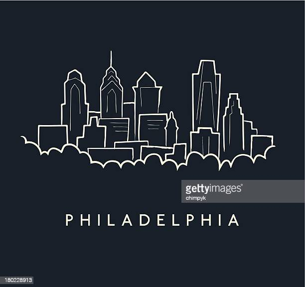 philadelphia skyline sketch - philadelphia skyline stock illustrations