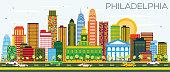 Philadelphia Skyline with Color Buildings and Blue Sky.