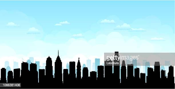 philadelphia (all buildings are complete and moveable) - skyline stock illustrations