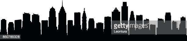 philadelphia (all buildings are complete and moveable) - philadelphia skyline stock illustrations