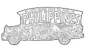 Philippine jeepney tribal ornament coloring page
