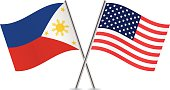 Philippines and American flags. Vector.