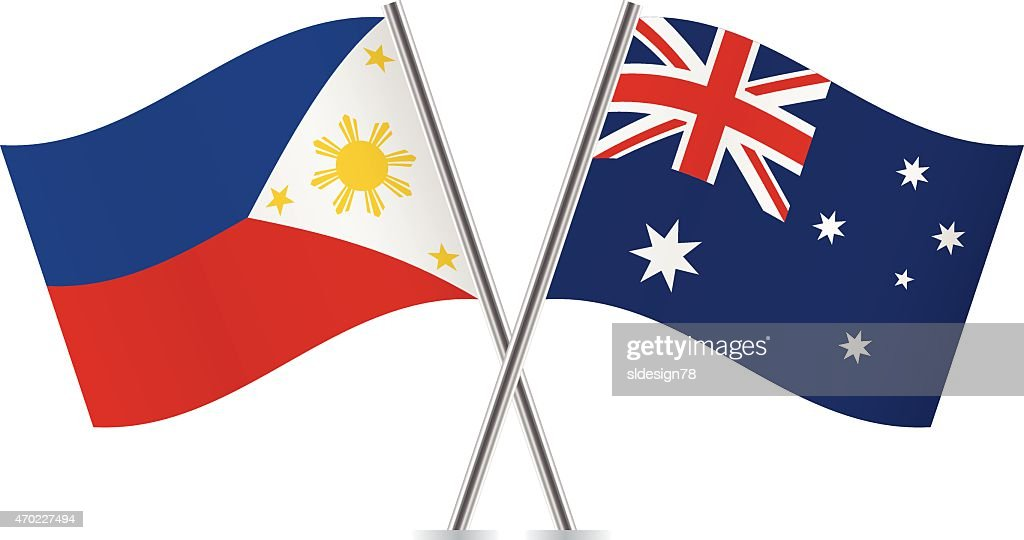 Philippines and Australian flags. Vector.