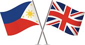 Philippines and British flags. Vector.