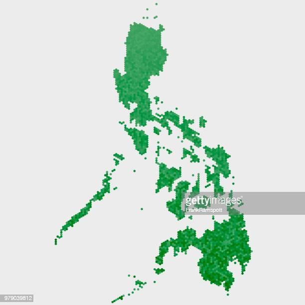 Philippinen Land Map grünen Sechseck-Muster