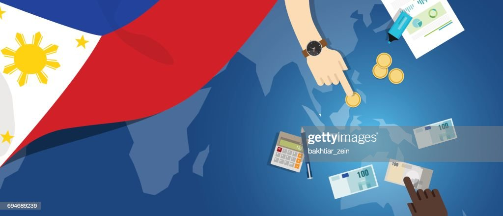 Philippines economy fiscal money trade concept illustration of financial banking budget with flag map and currency