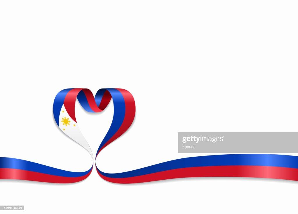 Philippines flag heart-shaped ribbon. Vector illustration.