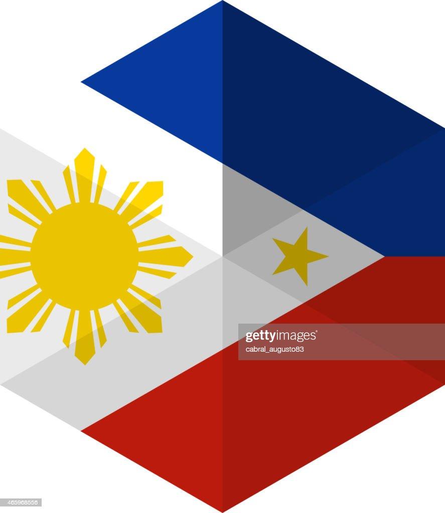 Philippines Flag Hexagon Flat Icon Button