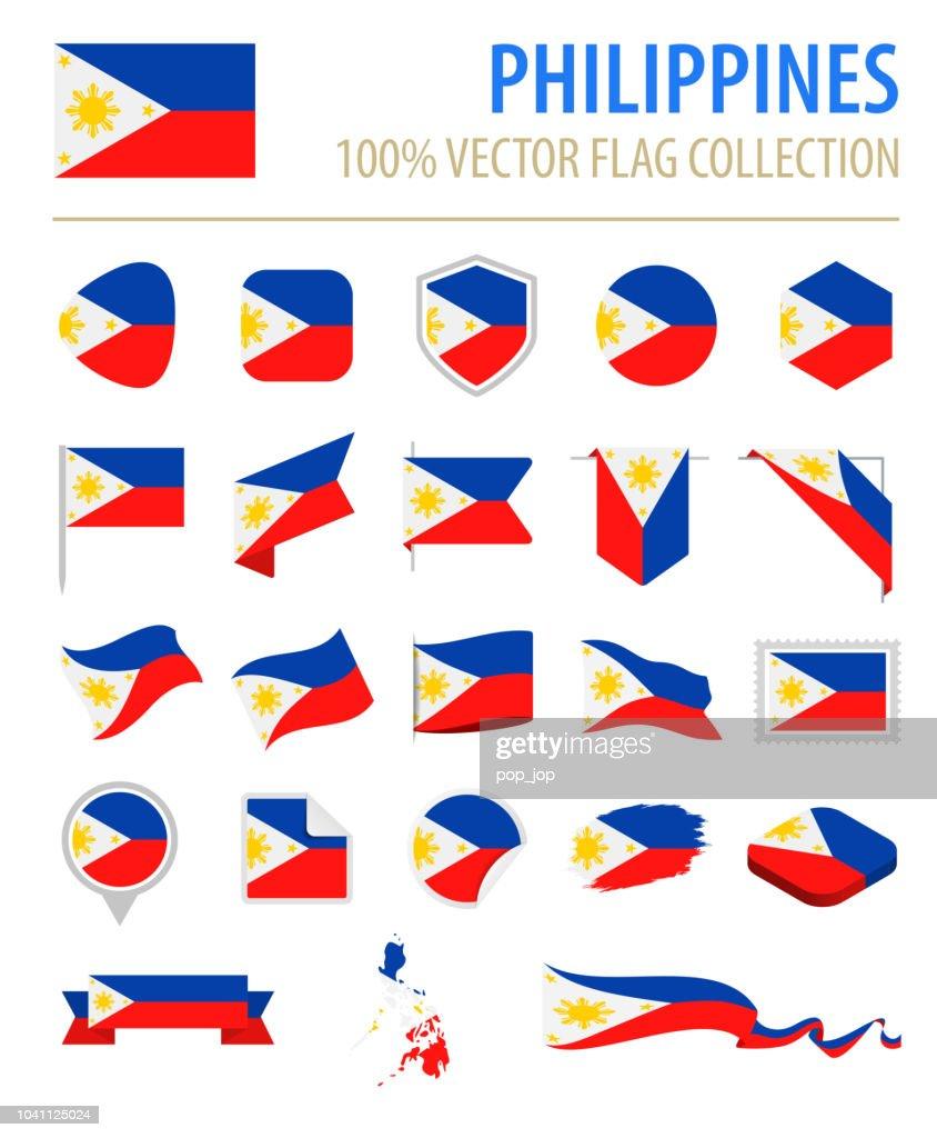 Philippines - Flag Icon Flat Vector Set