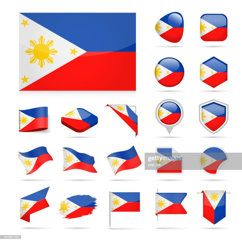 Philippines Flag Icon Glossy Vector Set stock illustration - Getty