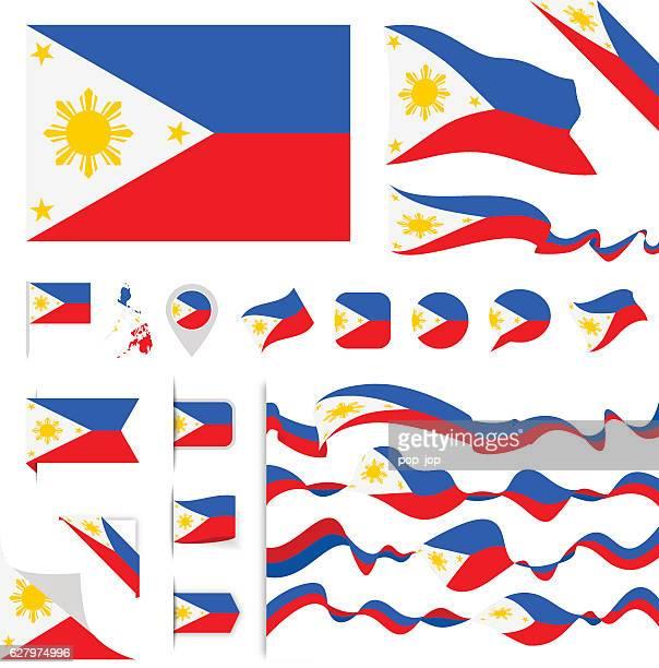 stockillustraties, clipart, cartoons en iconen met philippines flag set - filipijnen