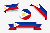 Philippines flag stickers and labels. Vector illustration.