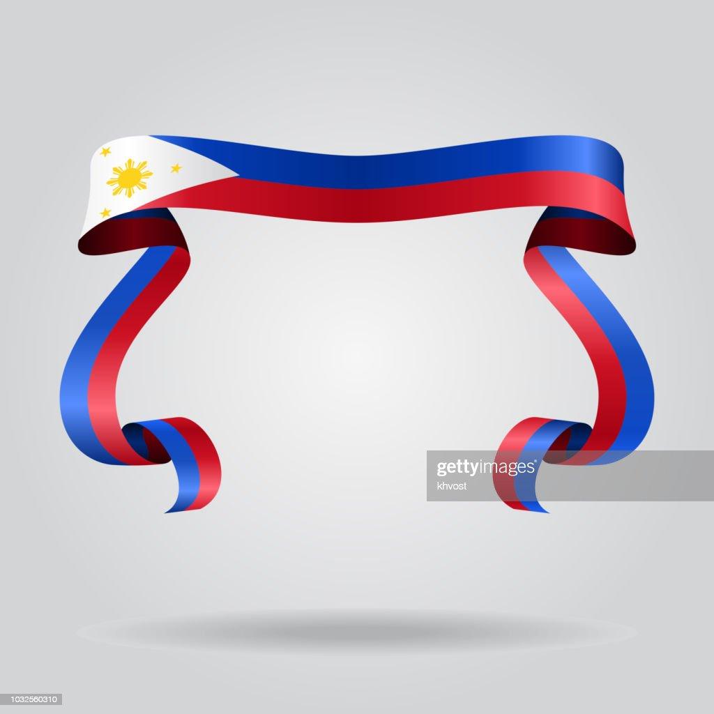 Philippines flag wavy ribbon background. Vector illustration.