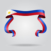 Philippines flag wavy ribbon background. Vector illustration.