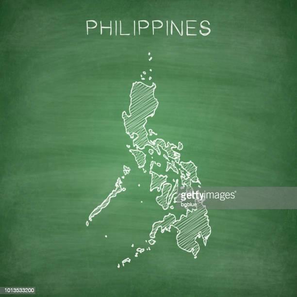 Philippinen Karte gezeichnet auf Tafel - Tafel