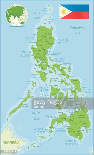 Philippinische Karte Grün hoch detaillierte