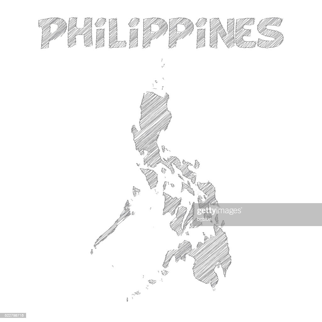 Philippines Map Hand Drawn On White Background Vector Art Getty - Philippines map