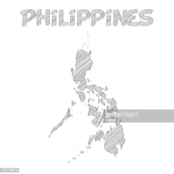 Philippinen Karte handgezeichnet auf weißem Hintergrund