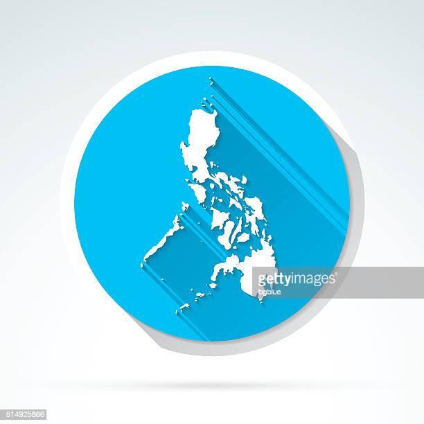 Philippinen Karte, Symbol, Flat-Design, lange Schatten