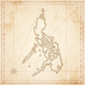 Philippines map in retro vintage style - old textured paper