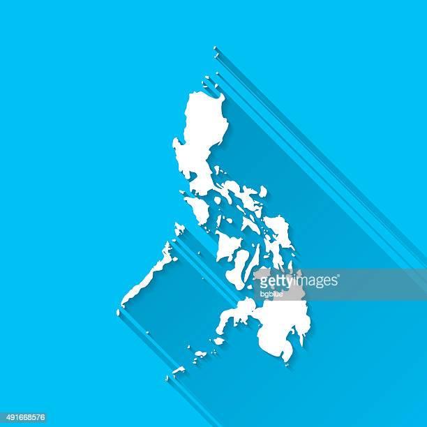 Philippinen-Karte auf blauem Hintergrund, lange Schatten, Flat-Design