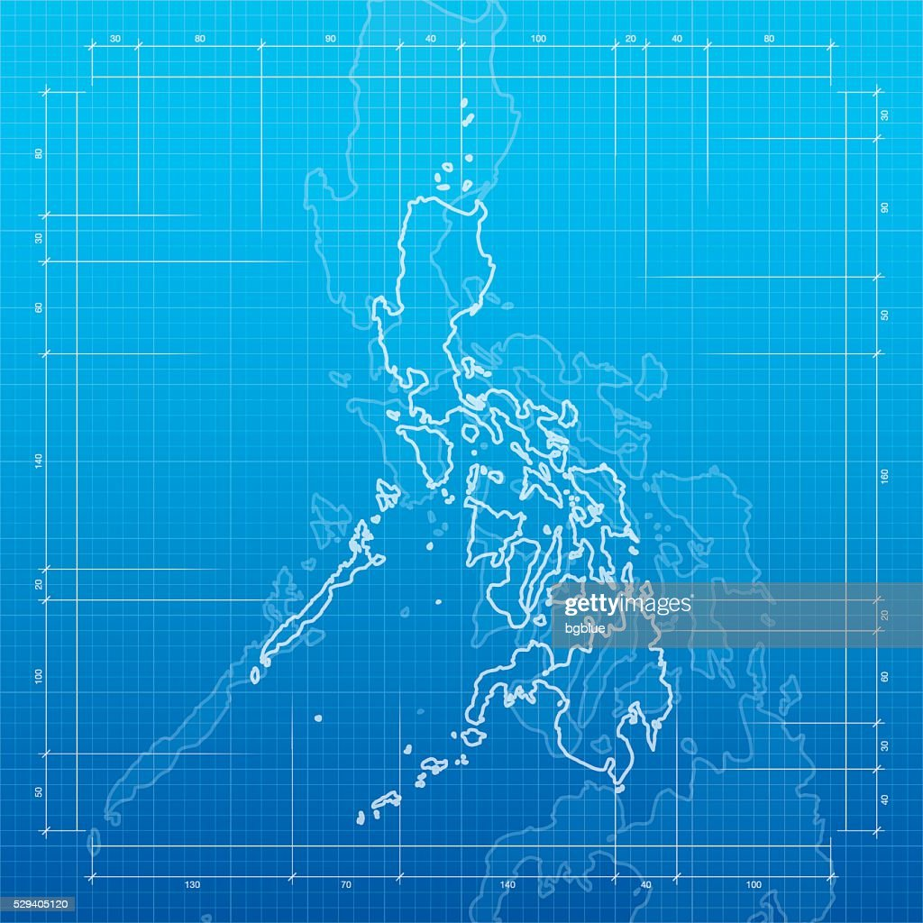 Philippines map on blueprint background vector art getty images philippines map on blueprint background vector art malvernweather Images