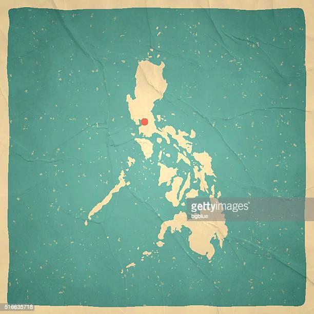 Philippinen-Karte auf alten Papier-vintage-Look