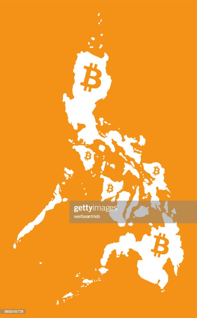 Philippines Map With Bitcoin Crypto Currency Symbol Illustration
